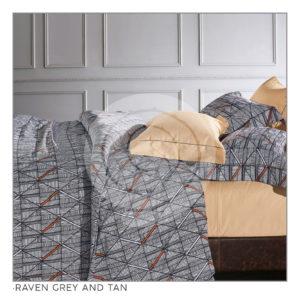 Ixora Deluxe Linen Collection- Raven Grey and Tan